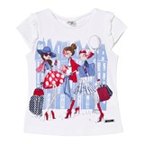 Mayoral White and Blue Fashion Girls Print Tee