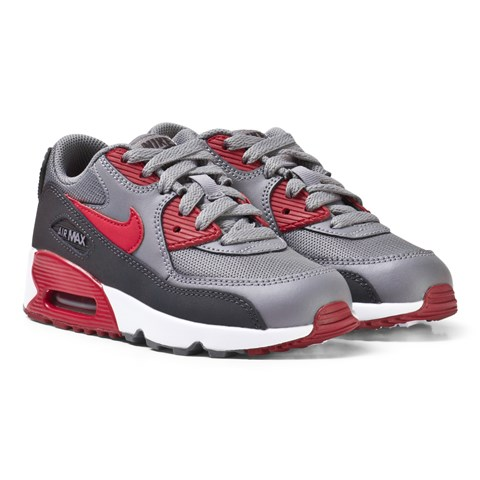 Grey and Red Air Max 90 Mesh Kids Trainers