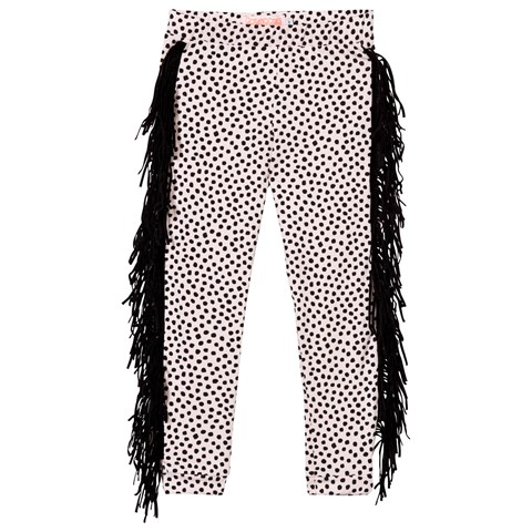 Bang Bang Copenhagen Pale Pink and Black Wayne Dot Leggings with Fringing