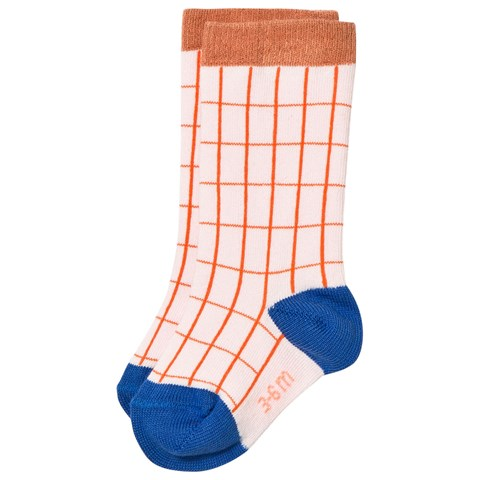 Pale Pink and Red Grid Socks