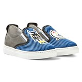 Fendi Blue Monster Mesh Slip Ons