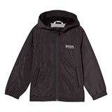 BOSS Charcoal Water-Repellent Hooded Windbreaker with Jersey Lining