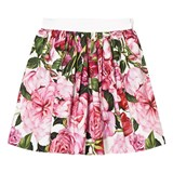 Dolce & Gabbana Pink Rose Print Cotton Skirt