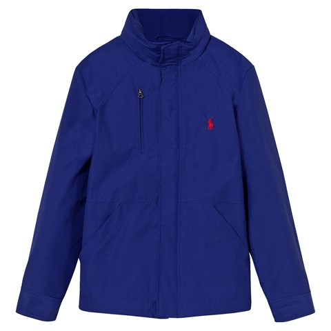 Blue Hooded Windbreaker with Detachable Hood