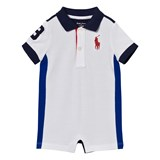 Ralph Lauren White, Royal Blue and Red Pique Romper