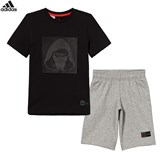 adidas Black and Grey Star Wars Shorts and Tee Set