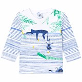 Catimini Blue and White Stripe Jungle Animal Tee