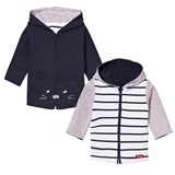 Catimini Navy and White Stripe and Cat Print Reversible Hoodie