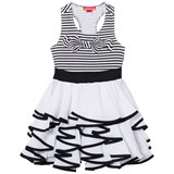 Kate Mack - Biscotti Black and White Stripe Tiered Dress