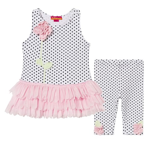 White and Black Spot and Flower Tutu Dress and Leggings Set