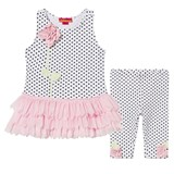 Kate Mack - Biscotti White and Black Spot and Flower Tutu Dress and Leggings Set