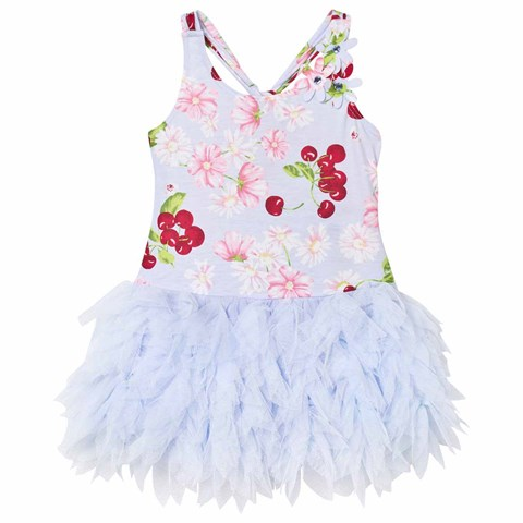 Blue Flower and Cherries Print Feather Tulle Skirt