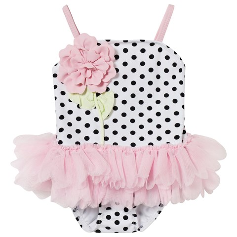 White and Black Spot and Flower Tutu Swimsuit