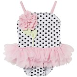 Kate Mack - Biscotti White and Black Spot and Flower Tutu Swimsuit