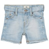 Levi's Light Wash Crinkled 511 Slim Bermuda Shorts with Raw Edging