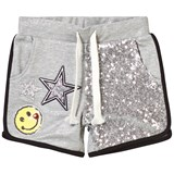 So Twee Grey Lurex Sequin Star and Smiley Detail Sweat Shorts