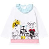 Fendi White Monster Print Frill Top