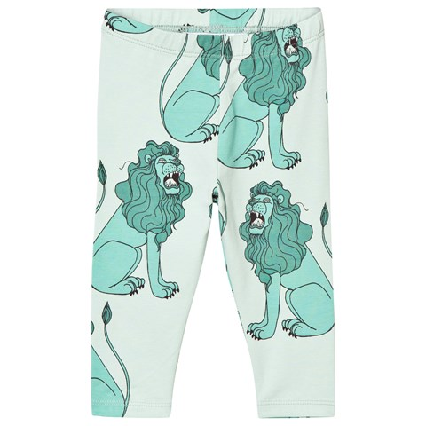Mini Rodini Lion Leggings In Light Green