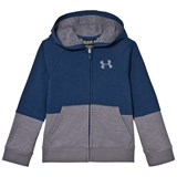 Under Armour Blue and Grey Panel Graphic Zip Hoodie