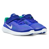 Nike Blue and Platinum Free Run Kids Velcro Trainers