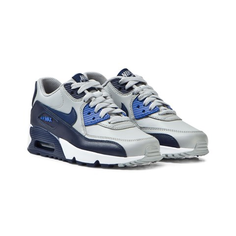 Grey and Blue Air Max 90 Leather Junior Trainers