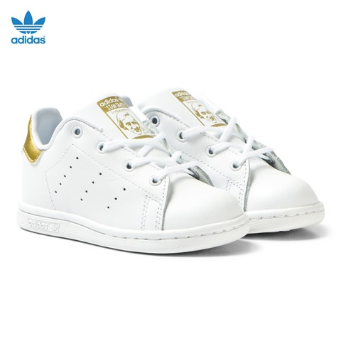 White and Gold Infants Stan Smith Trainers