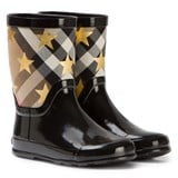 Burberry Black Star Print and Check Wellington Boots