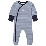 Absorba Navy Stripe Babygrow with Scratch Mits