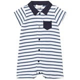 Absorba Blue and White Stripe Jersey Polo Romper