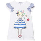 Simonetta White Girl Print Top with Stripe Frill Sleeves