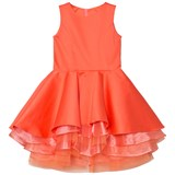 Lili Gaufrette Coral Tiered Hem Party Dress with Bow Back Detail