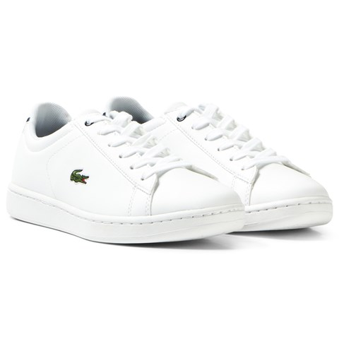 Lacoste White and Navy Classic Junior Carnaby Court Trainers