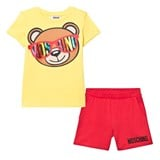 Moschino Yellow Bear Print Tee and Shorts Set