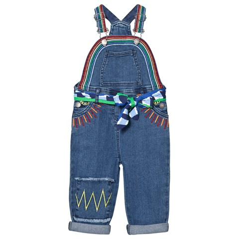 Stella McCartney Kids Blue Denim Rainbow Dungarees with Embroidered Sun