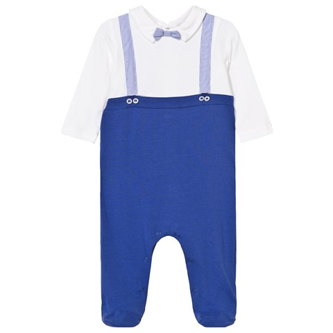 Mayoral Blue and White Braces Detail Babygrow