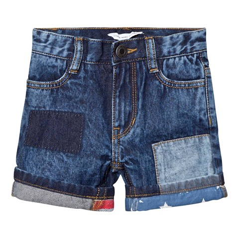 Little Marc Jacobs Blue American Flag Turn Up Denim Shorts