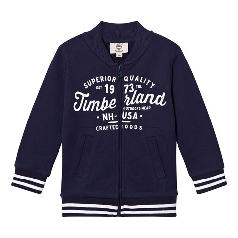 Navy Branded Script Bomber Jacket