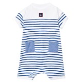 Petit Bateau Blue and White Stripe Romper with Anchor Patch