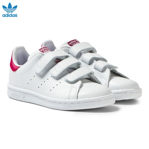 White and Pink Kids 3V Stan Smith Trainers