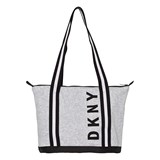 DKNY Grey and Black Branded Jersey Bag