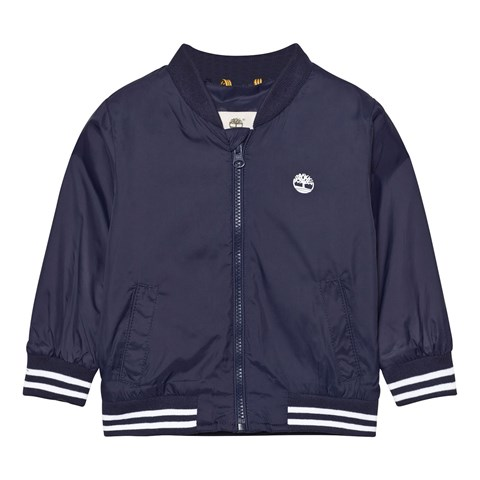 Navy Nylon Branded Windbreaker with Hood