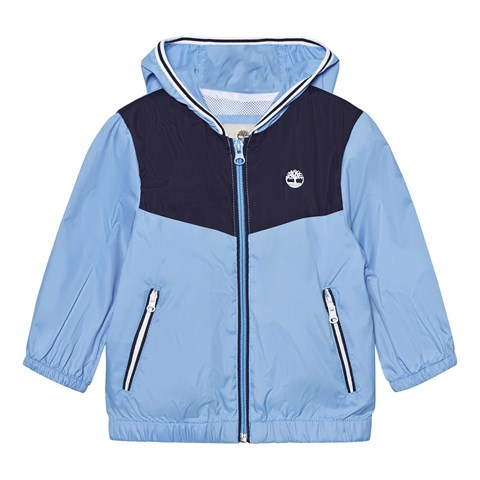 Blue Branded Windbreaker with Hood