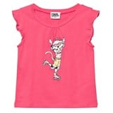 Karl Lagerfeld Kids Pink Rollerskating Choupette Frill Tee