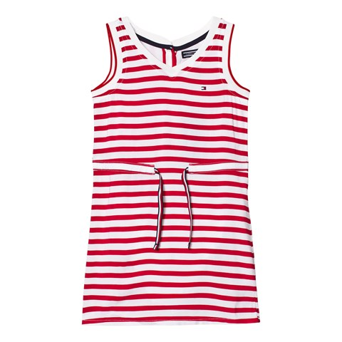 Red Stripe Jersey Dress with Drawcord Waist