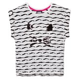Karl Lagerfeld Kids Black and White Glitter Choupette Tee