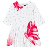Catimini White and Pink Bird and Floral Jersey Dress