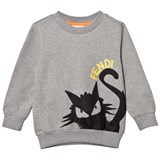Fendi Grey Branded Cat Print Sweatshirt