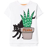 Fendi White Cat Branded Print Tee
