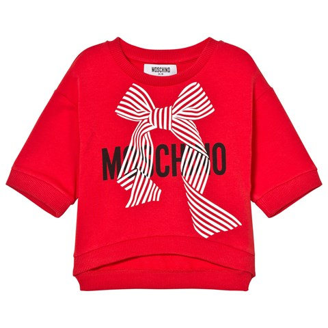 Red Branded Bow Cropped Sweatshirt