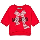 Moschino Red Branded Bow Cropped Sweatshirt